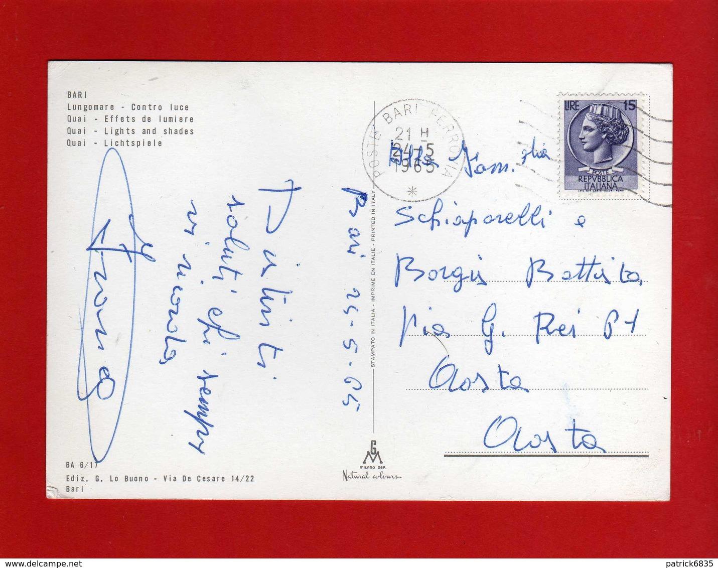 BARI - LUNGOMARE  In CONTRO LUCE.   Viaggiata 1965.   Vedi Descrizione. - Bari
