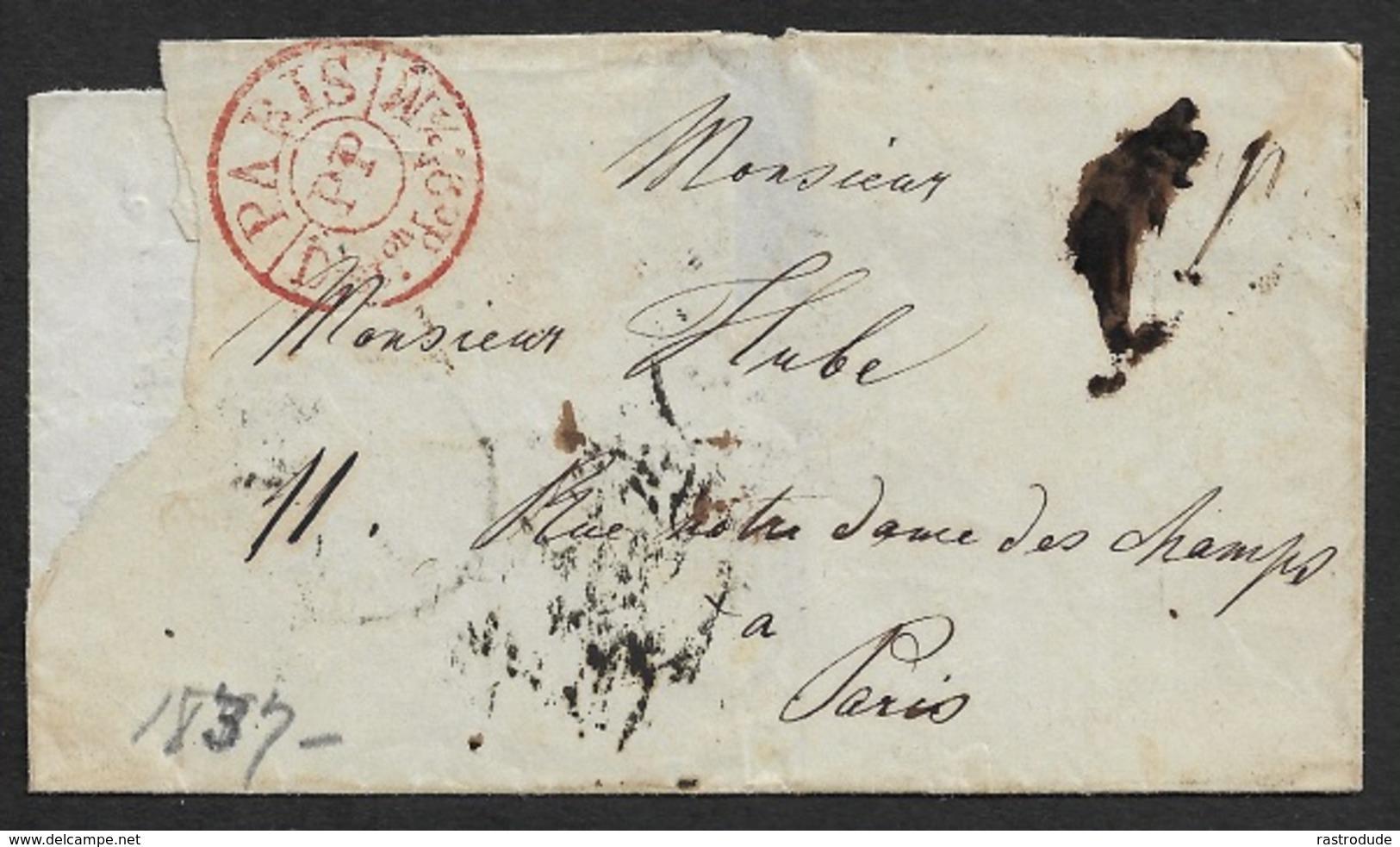 1837 LSC - PARIS - Cachet De Disribution Port Payé PARIS PP DISTon De 2h½ M - Levée Du 8h - Juillet 29 - Marcophilie (Lettres)