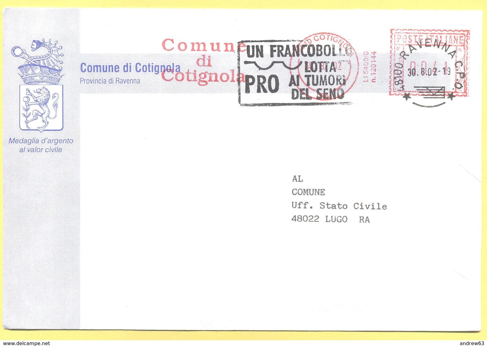 ITALIA - ITALY - ITALIE - 2002 - 00,41 EMA, Red Cancel - Comune Di Contignola - Viaggiata Da Contignola Per Lugo - Affrancature Meccaniche Rosse (EMA)