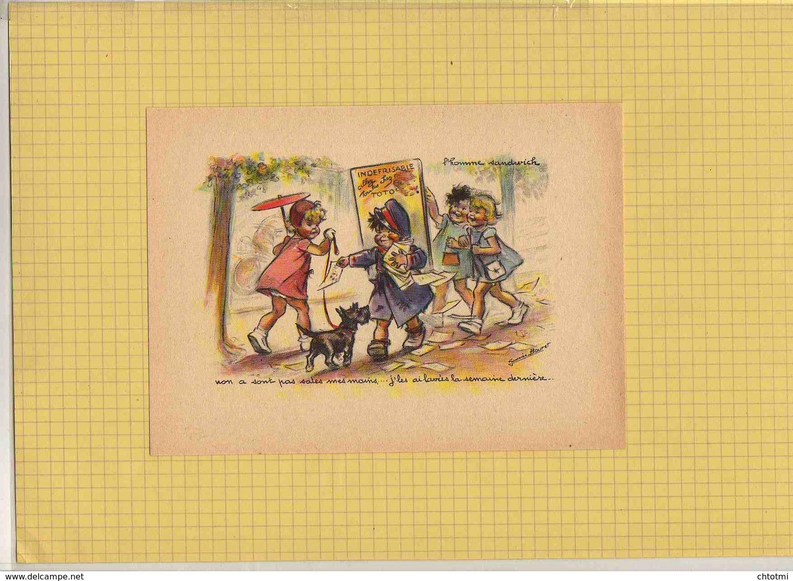 Gravure GERMAINE BOURET : Non A Sont Pas Sales Mes Mains ; L'Homme Sandwich  ; Chien - Bouret, Germaine