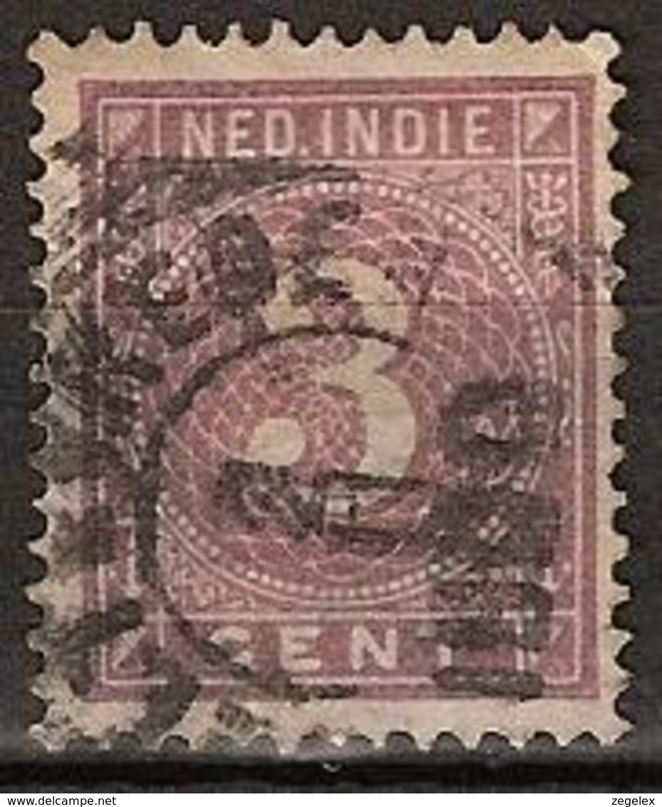 "Ned Indie 1883 Cijfer 3 Cent NVPH 20 Stempel ""Weltevreden"" - Dun Plekje - Nederlands-Indië"