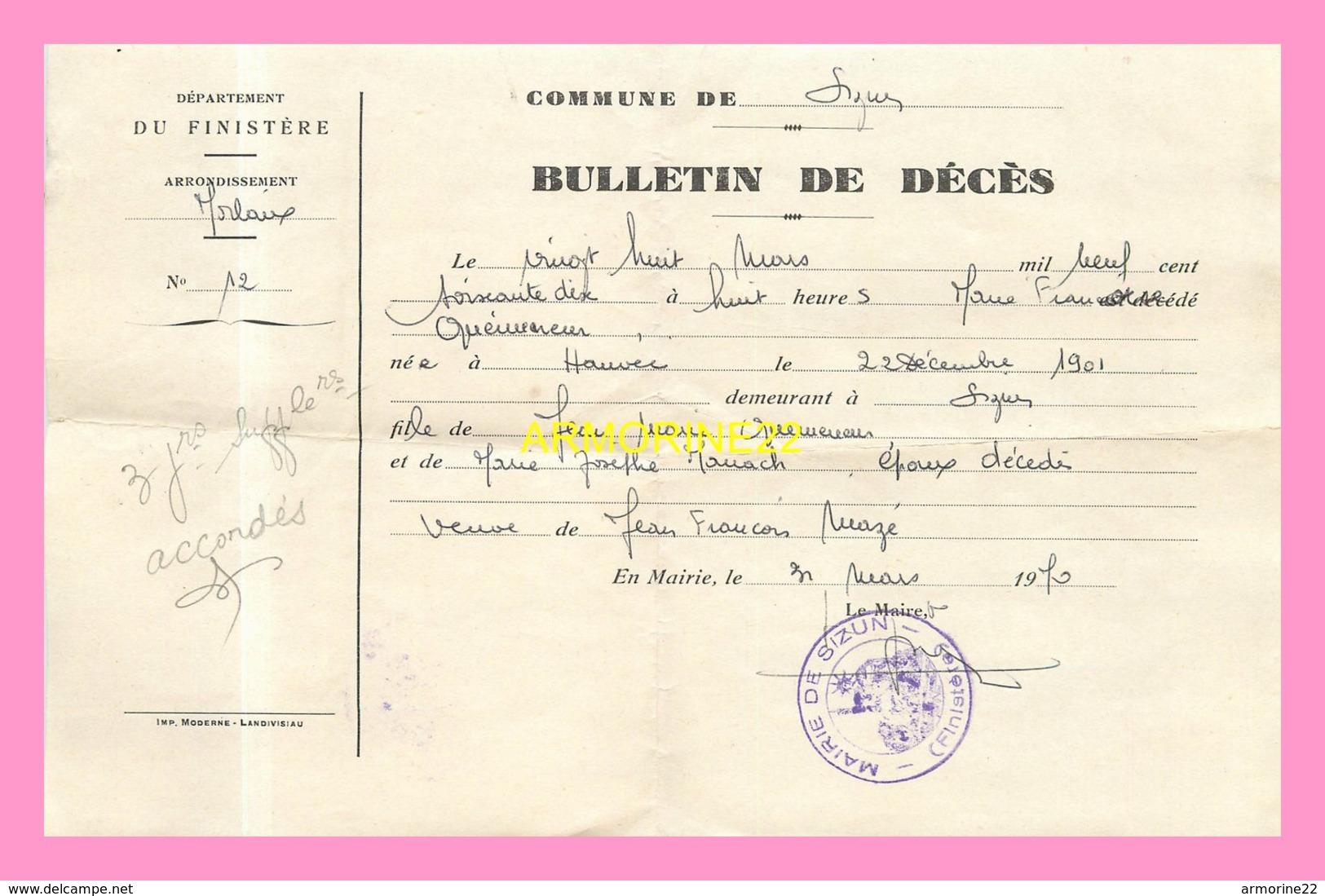 AVIS DE RADIATION DE LA LISTE ELECTORALEde La Mairie D HANVEC (29) 1947BULLETIN DE DECES  De La Commune De  SIZUN 1970 - Obituary Notices