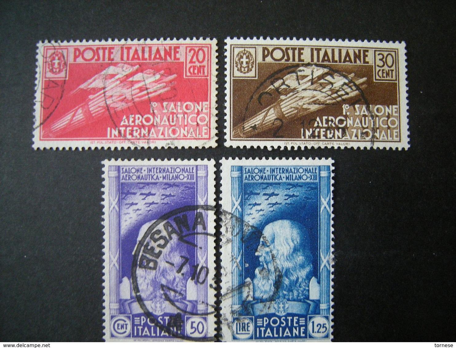 1935 - SALONE AERONAUTICO, Serie Compl. Usata , 4 Val. TTB,  OCCASIONE - Usati
