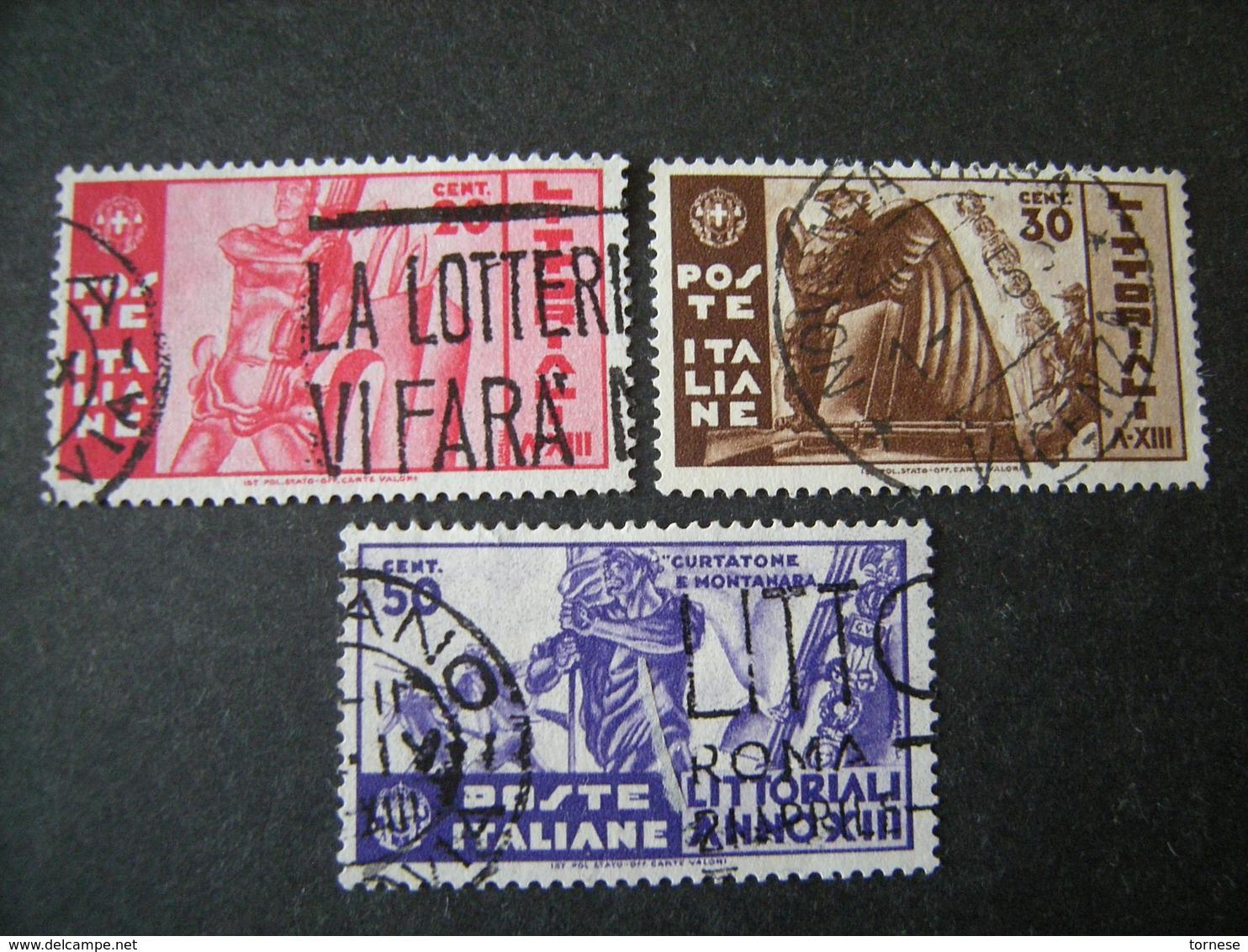 1935 - LITTORIALI, Serie Compl. Usata , 3 Val. TTB,  OCCASIONE - 1900-44 Vittorio Emanuele III