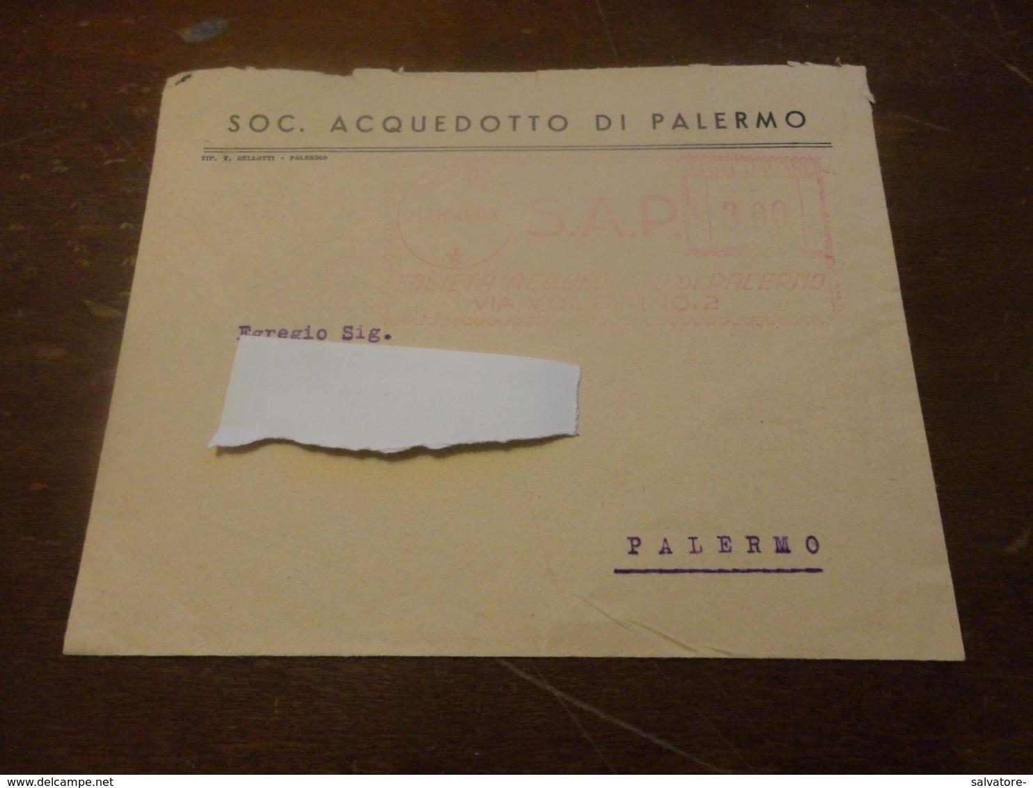 LETTERA CON AFFRANCATURA ROSSA SOCIETA' ACQUEDOTTO DI PALERMO LIRE 3-1946 - Affrancature Meccaniche Rosse (EMA)