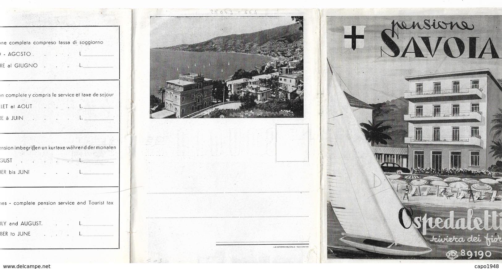 """CARD DEPLIANT PUBBLICITARIO OSPEDALETTI """"PENSIONE SAVOIA""""CON INTERNI  2 SCANNER   (IMPERIA)FG-N-2-    0882-28663-664 - Imperia"""