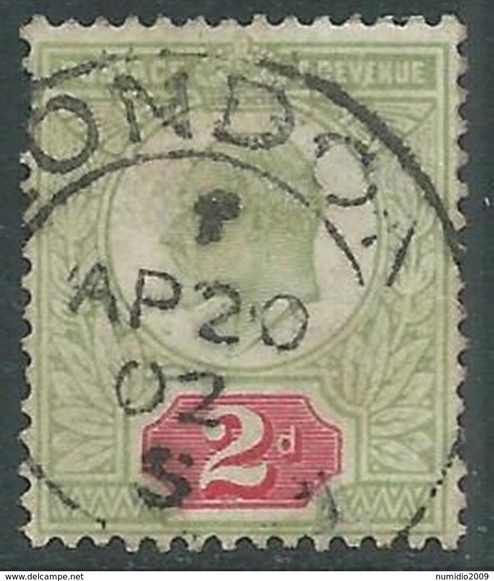 1902-10 GREAT BRITAIN USED SG 225 2d YELLOWISH GREEN & CARMINE RED  - F22 - Usati