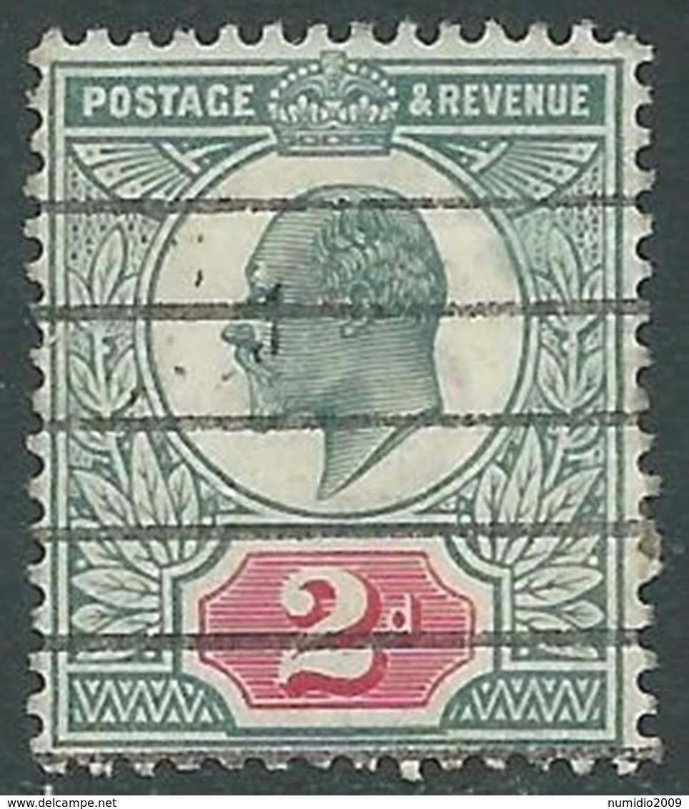 1902-10 GREAT BRITAIN USED SG 226 2d GREY-GRN & CARMINE RED  - F21-10 - 1902-1951 (Re)