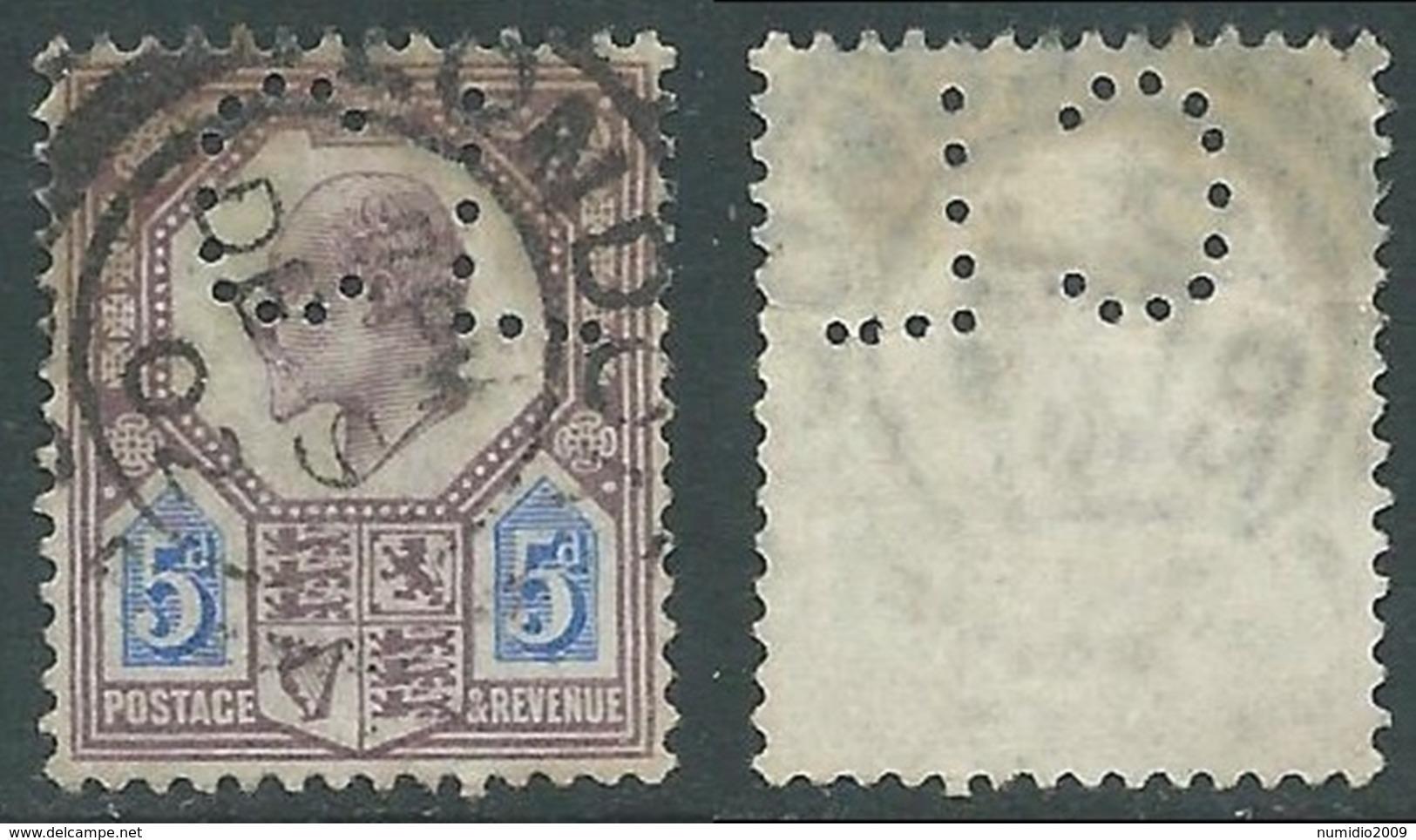 1902-10 GREAT BRITAIN USED SG 242 5d DULL PUR & ULTRAMARINE PERFIN - F22 - 1902-1951 (Re)