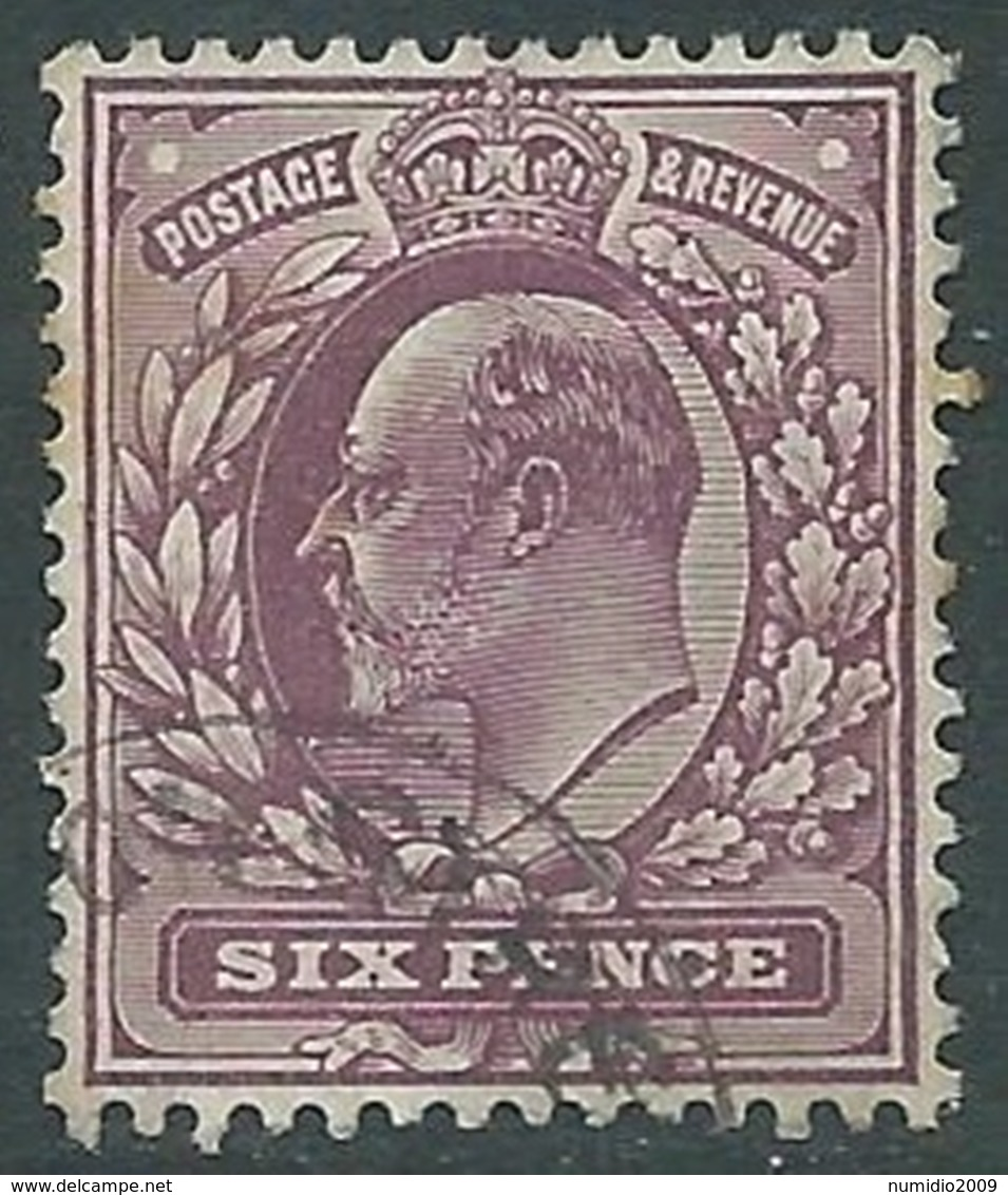 1902-10 GREAT BRITAIN USED SG 245 6d PALE DULL PURPLE - F22 - 1902-1951 (Re)