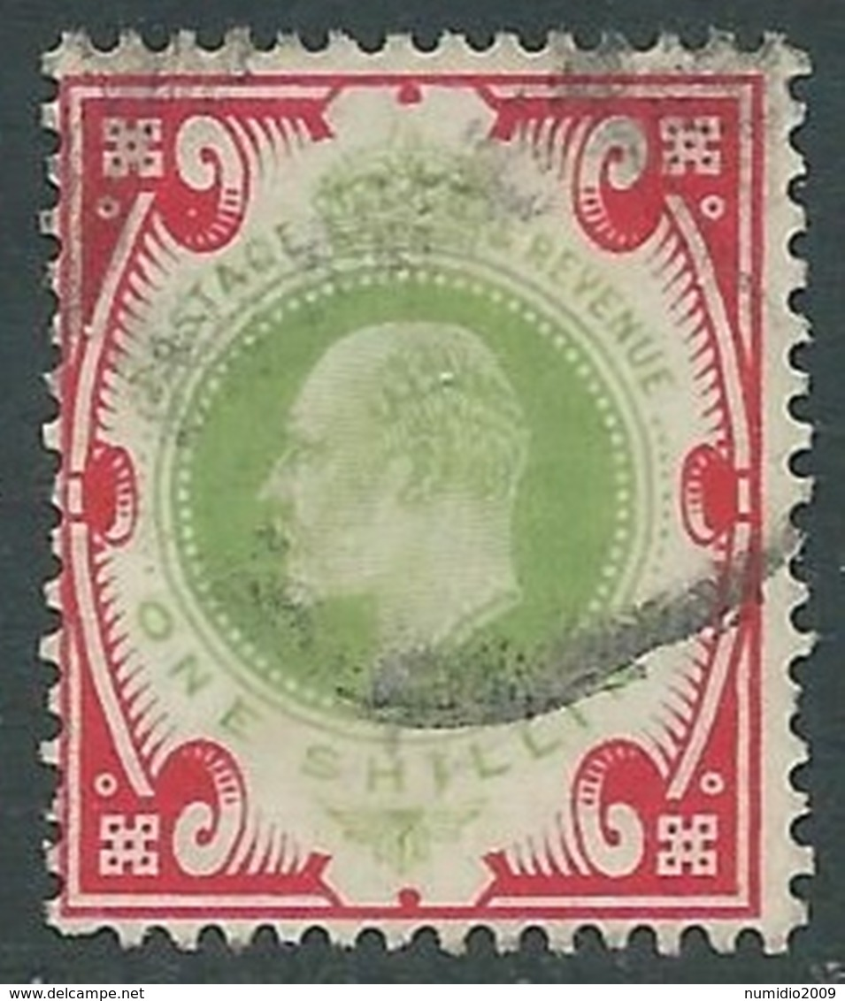 1902-10 GREAT BRITAIN USED SG 257 1s DULL GREEN & CARMINE - F22-2.2 - 1902-1951 (Re)