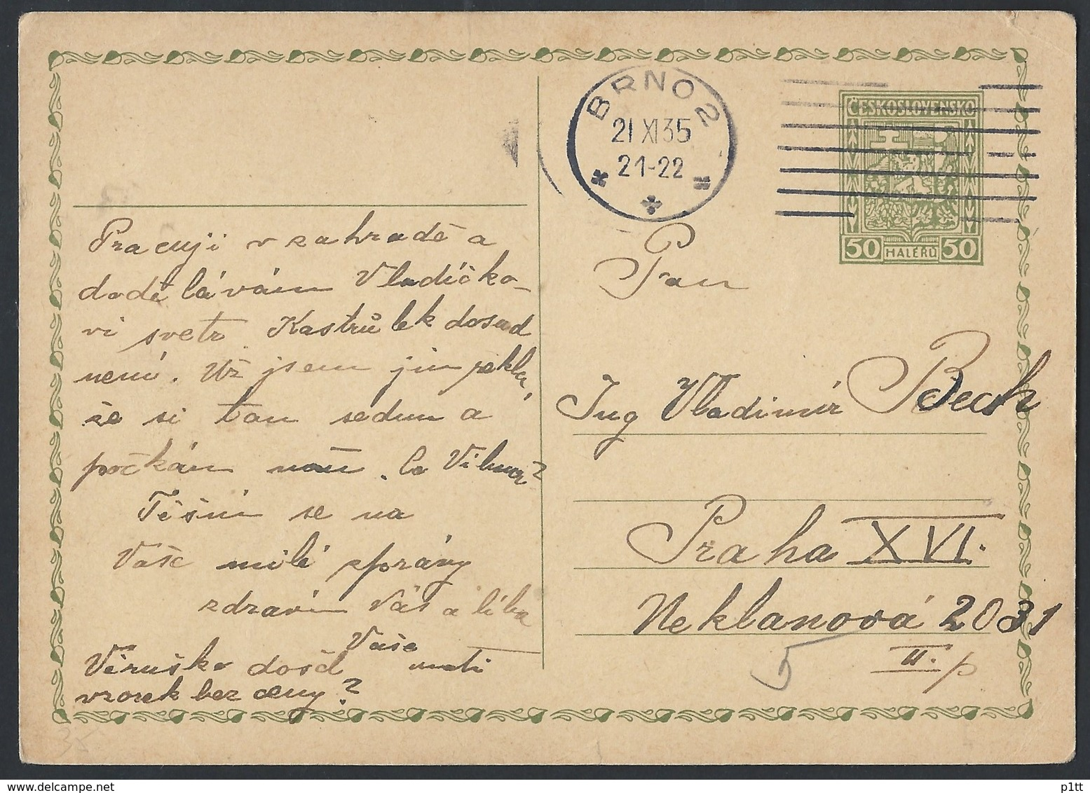 6ch.Postcard. Post 1935. Brno Prague. First Czechoslovak Republic. - Czechoslovakia