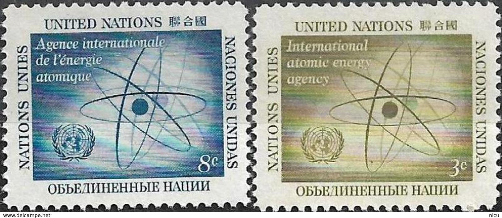 1958 - INTERNATIONAL ATOMIC ENERGY AGENCY - Michel Nr. 66-67 = 0.50 € - New York -  VN Hauptquartier