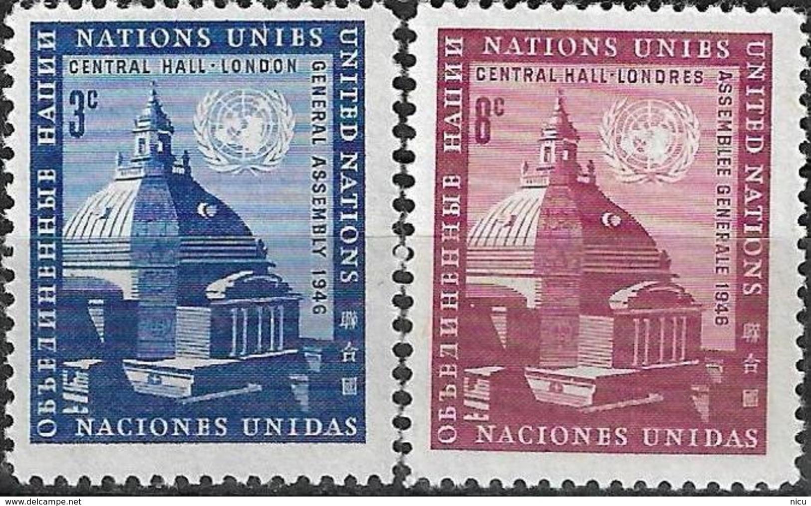 1958 - CENTRAL HALL LONDON - Michel Nr. 68-69 = 0.50 € - New York -  VN Hauptquartier