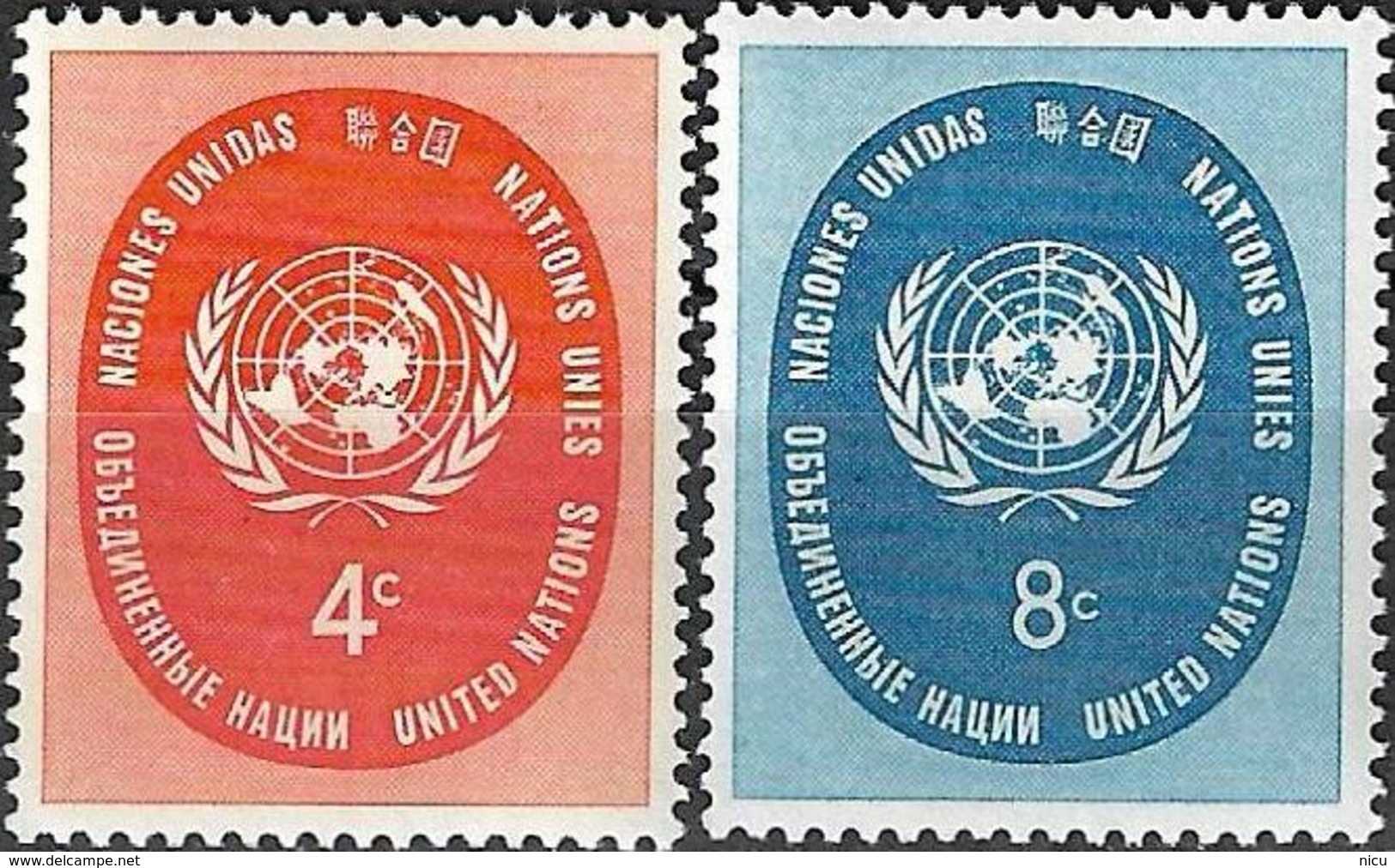 1958 - USUAL STAMPS - Michel Nr. 70-71 = 0.50 € - New York -  VN Hauptquartier