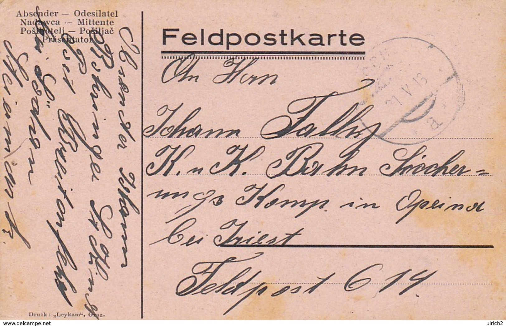 Feldpostkarte Wien Nach K.u.k. Bahn Sicherungs Komp In Opcina Bei Triest Feldpost 614 - 1916 (39323) - 1850-1918 Imperium