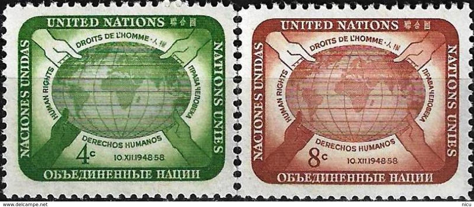 1958 - HUMAN RIGHTS - Michel Nr. 74-75 = 0.50 € - New York -  VN Hauptquartier