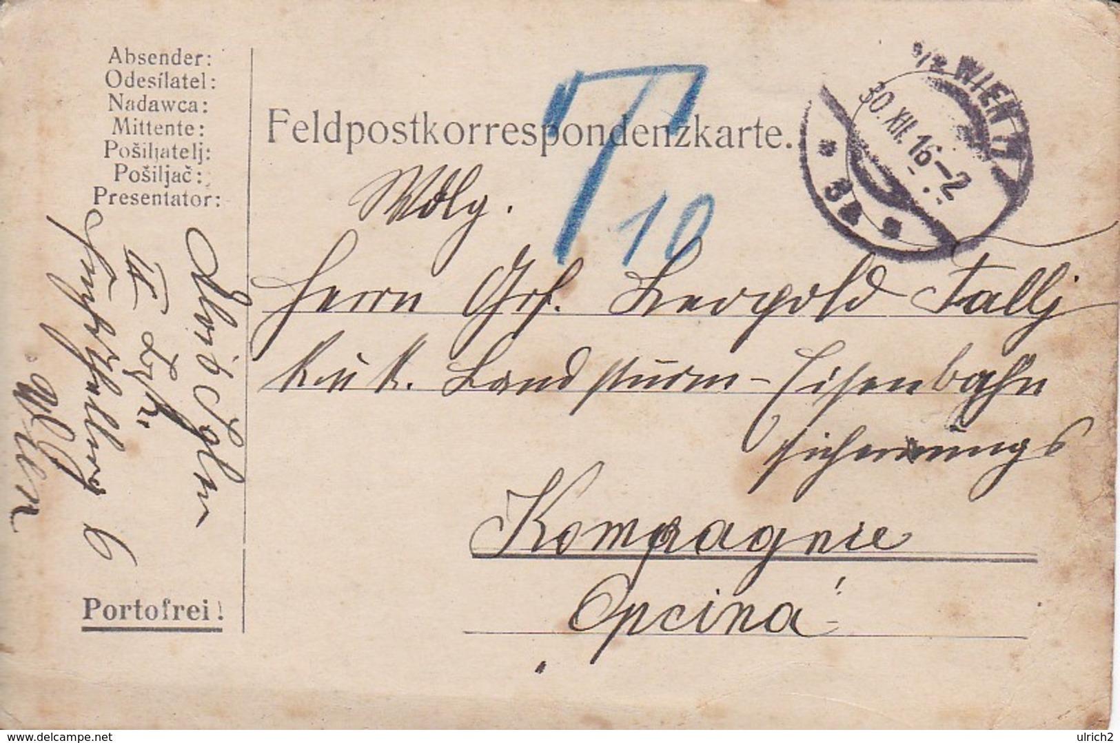Feldpostkarte Wien Nach K.u.k. Landsturm Eisenbahn Sicherungs Komp In Opcina  - 1916 (39324) - 1850-1918 Imperium