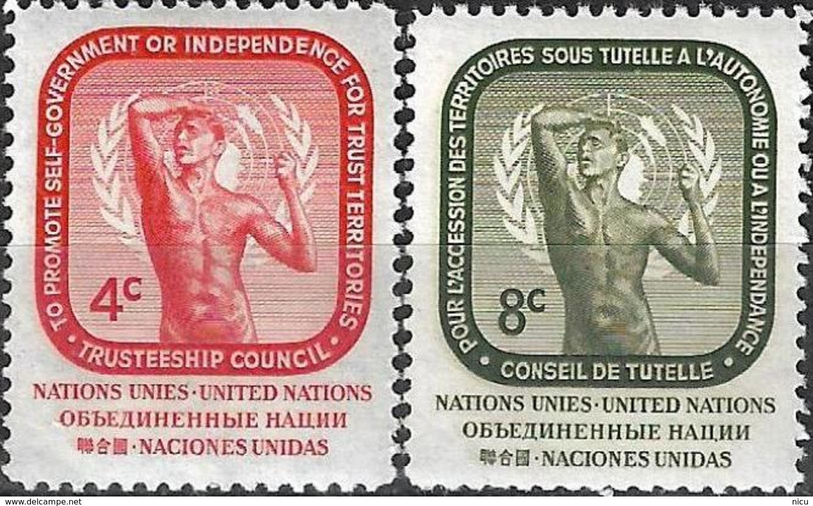 1959 - THUSTEESHIP COUNCIL - Michel Nr. 80-81 = 0.60 € - New York -  VN Hauptquartier