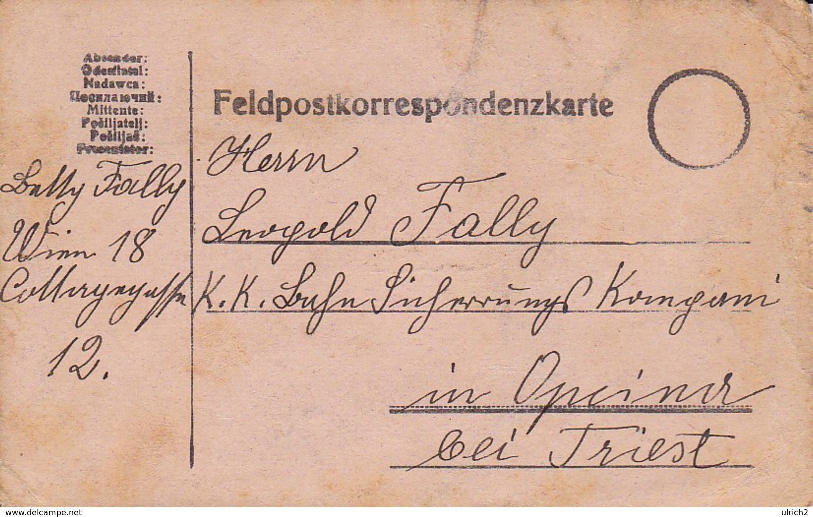 Feldpostkarte Wien Nach K.k. Bahn Sicherungs Komp In Opcina Bei Triest - 1916 (39325) - 1850-1918 Imperium