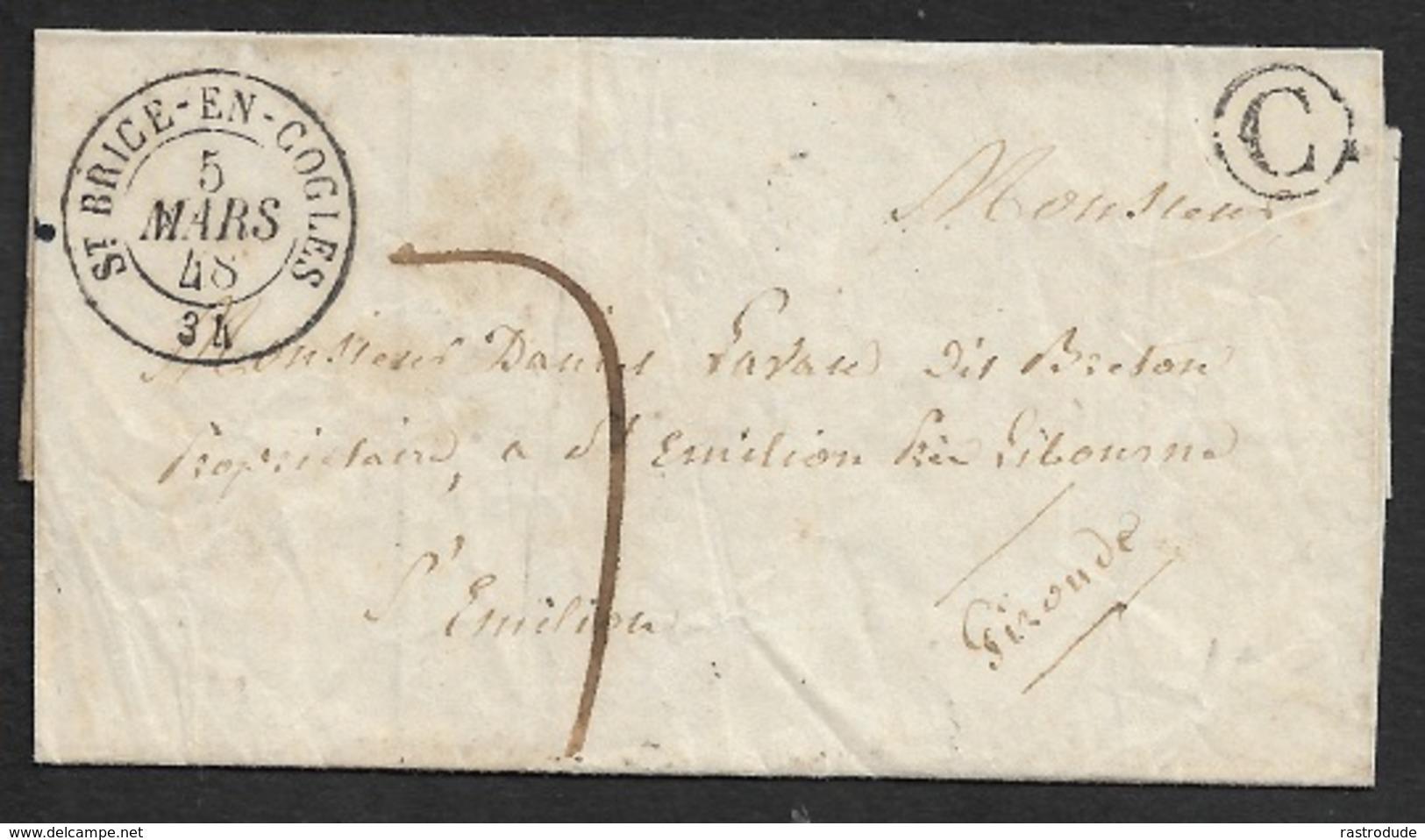 1848 - LSC - St. BRICE EN COGLES ( ILLE ET VILAINE ) - BOITE RURAL C - BELLE FRAPPE - Marcophilie (Lettres)