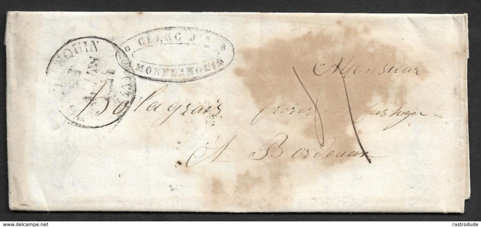 1844 - LAC - MONFLANQUIN ( Lot Et Garonne ) A BORDEAUX - Lettre Commercielle - Marcophilie (Lettres)