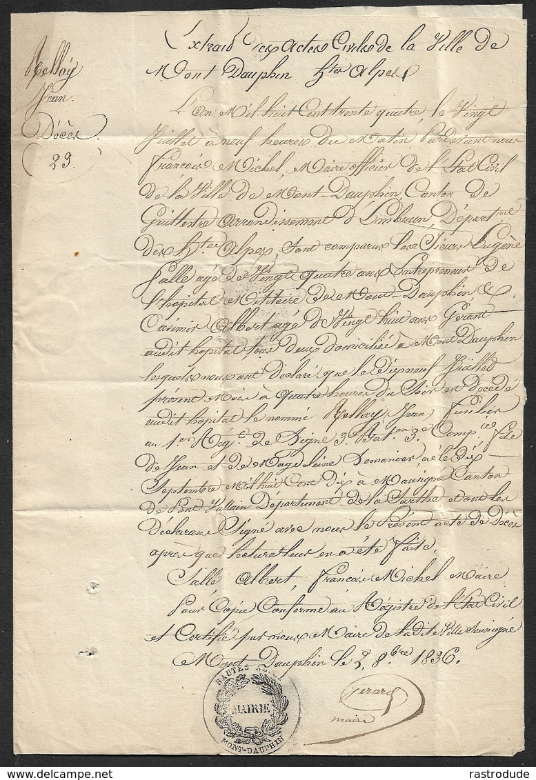 1836 - LAC  MONT DAUPHIN ( HAUTES ALPES ) - Lettre De La Mairie - Contenue Hopital Militaire - Signé Par Le Maire - RARE - Marcophilie (Lettres)
