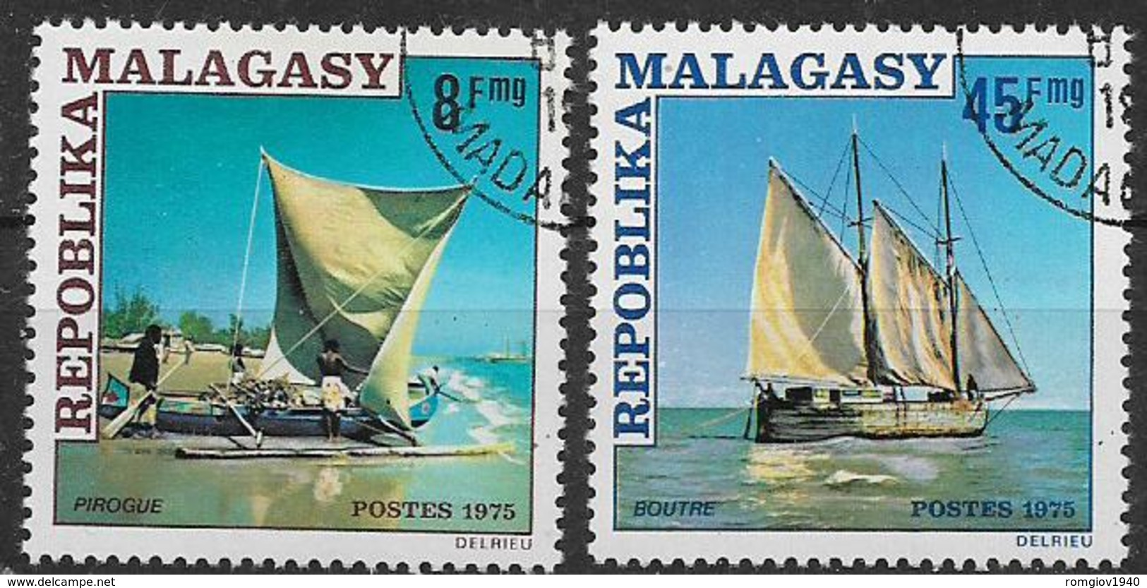 MADAGASCAR    1975  BARCHE SOGGETTI DIVERSI YVERT. 576-577 USATA VF - Madagascar (1960-...)