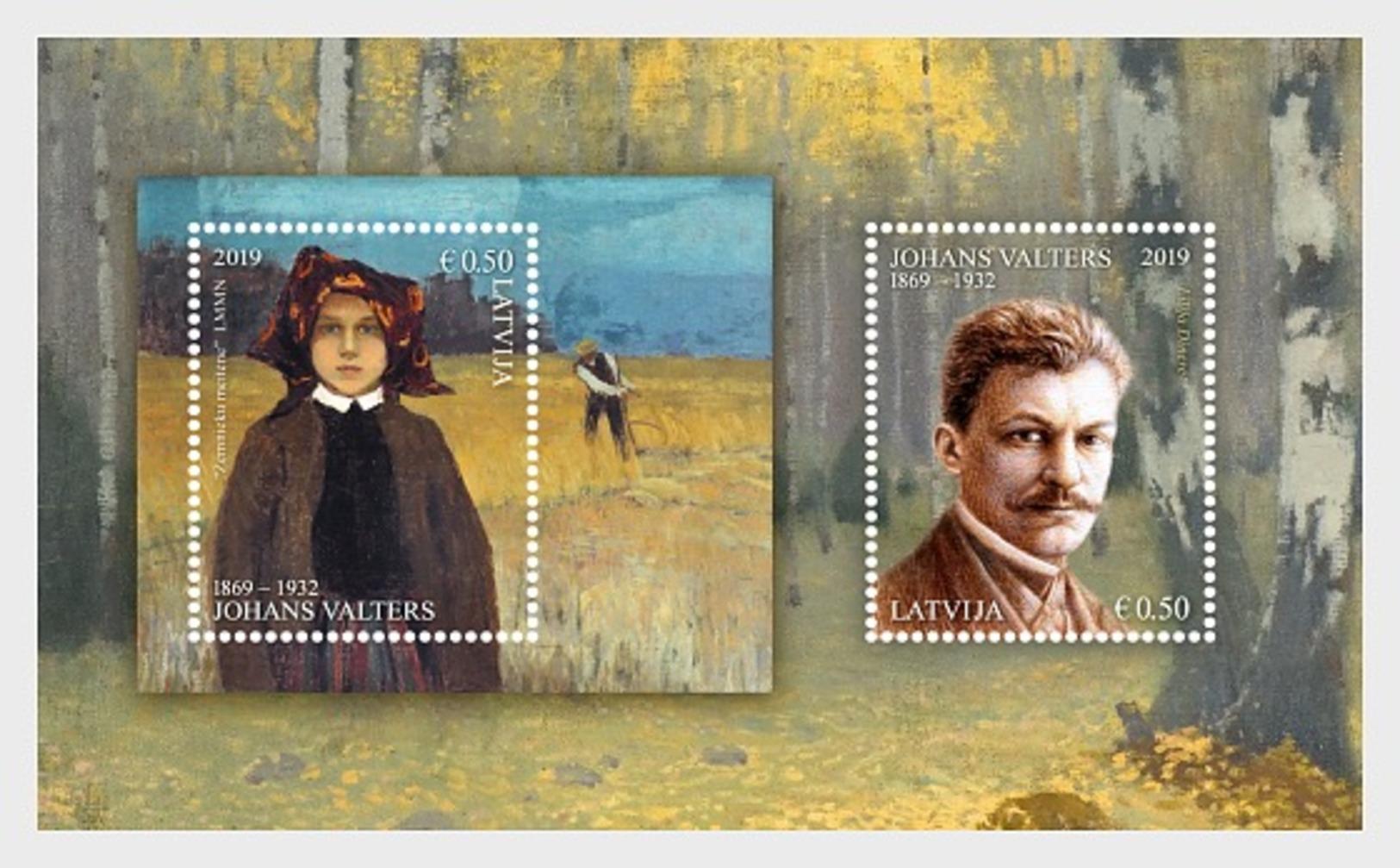 H01 Latvia 2019Distinguished Artists Johans Valters Miniature Sheet   MNH Postfrisch - Lettland