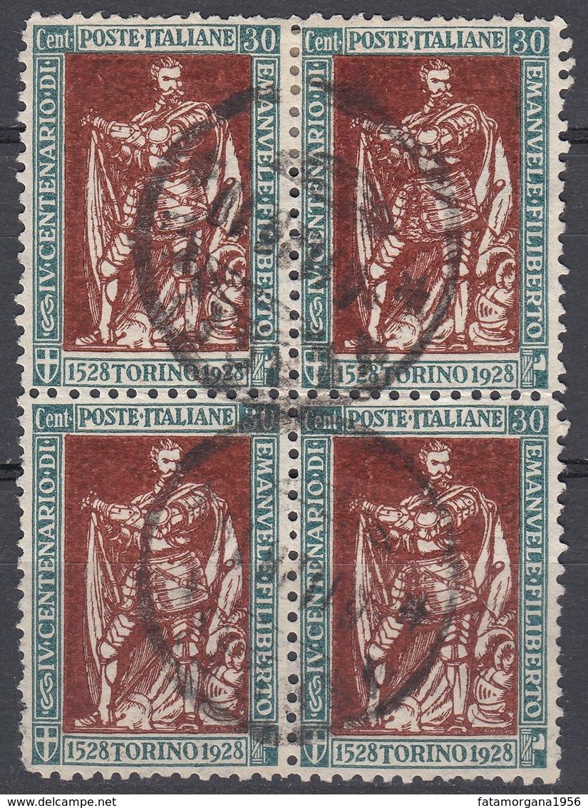 ITALIA - 1928 - Quartina Di Yvert 215 Usati, Di Seconda Scelta, Come Da Immagine. - 1900-44 Vittorio Emanuele III