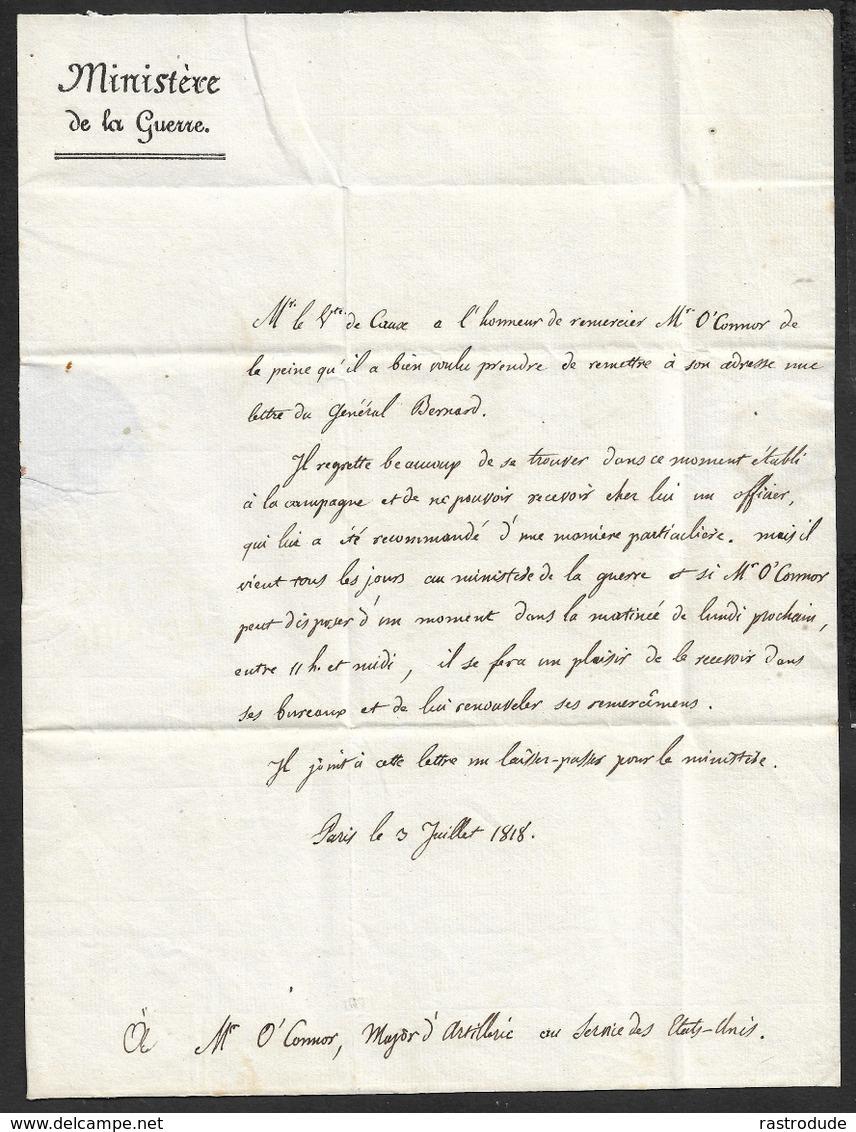 1818 - LAC - PARIS P - MINISTÈRE DE LA GUERRE - INVITATION A O'CONNOR, MAYOR D'ARTILLERIE - Marcophilie (Lettres)