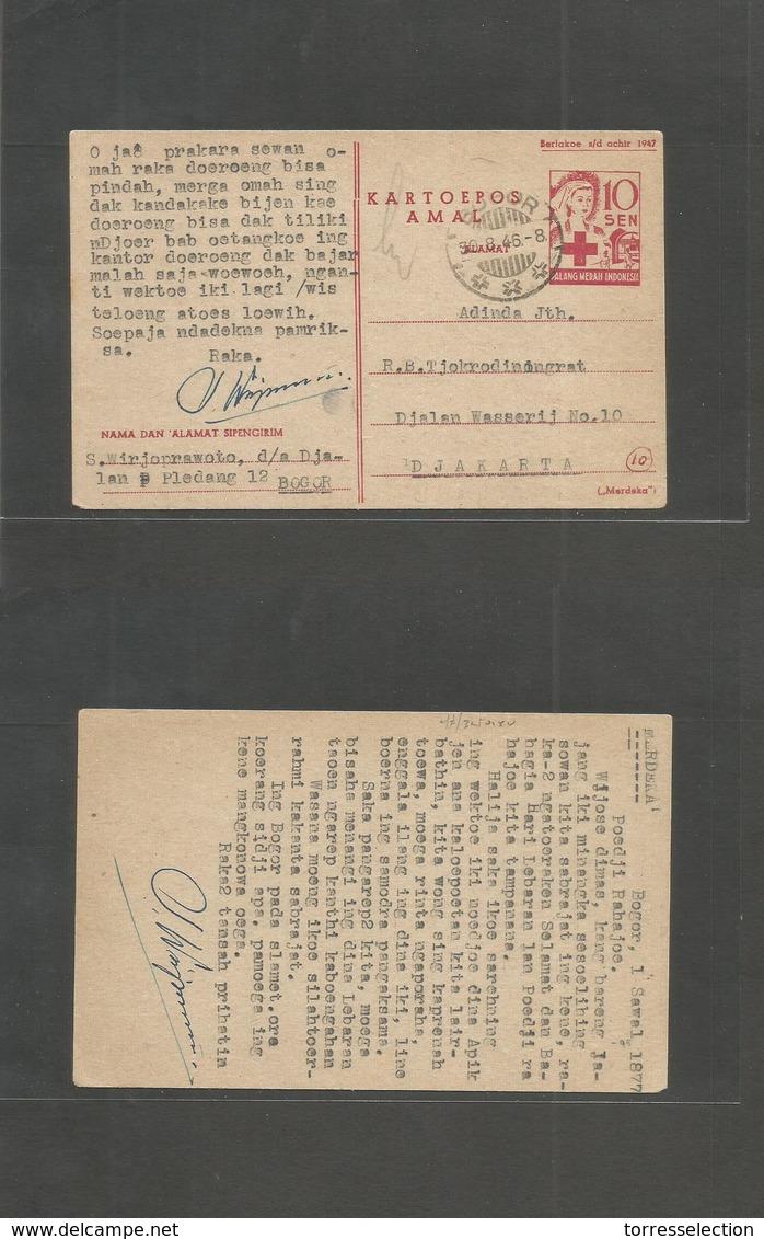 Dutch Indies. 1946 (30 Aug) Early Independence Days. Bogor - Djakarta. Red Cross 10c Stat Card. VF + Better. - Indes Néerlandaises