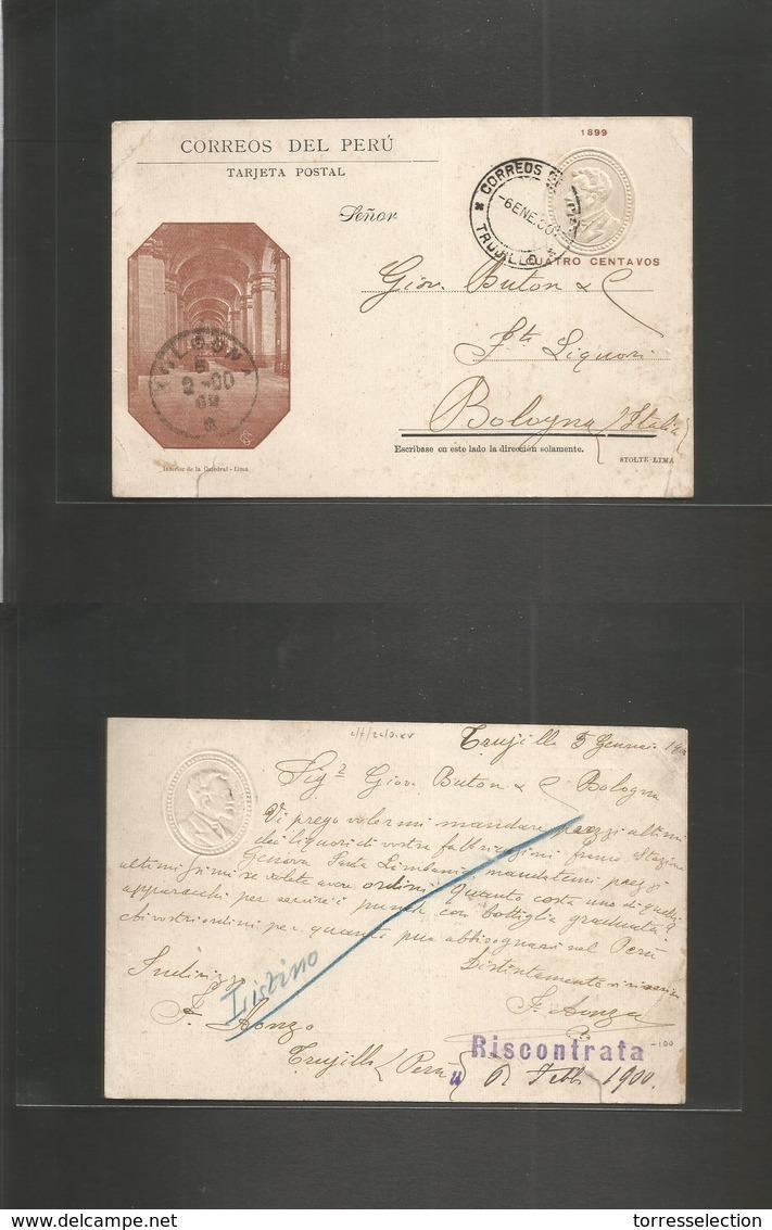 Peru. 1900 (6 Enero) Trujillo - Bologna, Italy (6 Febr) 4c Illustrated Albino Embossed Stat Card, Cds. VF Rare Circulate - Peru
