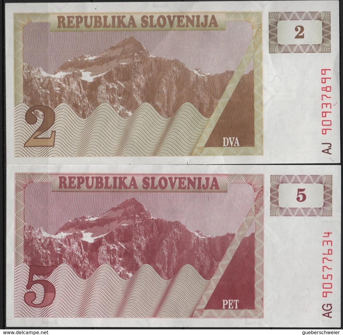 B 115 - SLOVENIE Billets De 2 Et 5 De 1990 état Neuf 1er Choix - Slovénie
