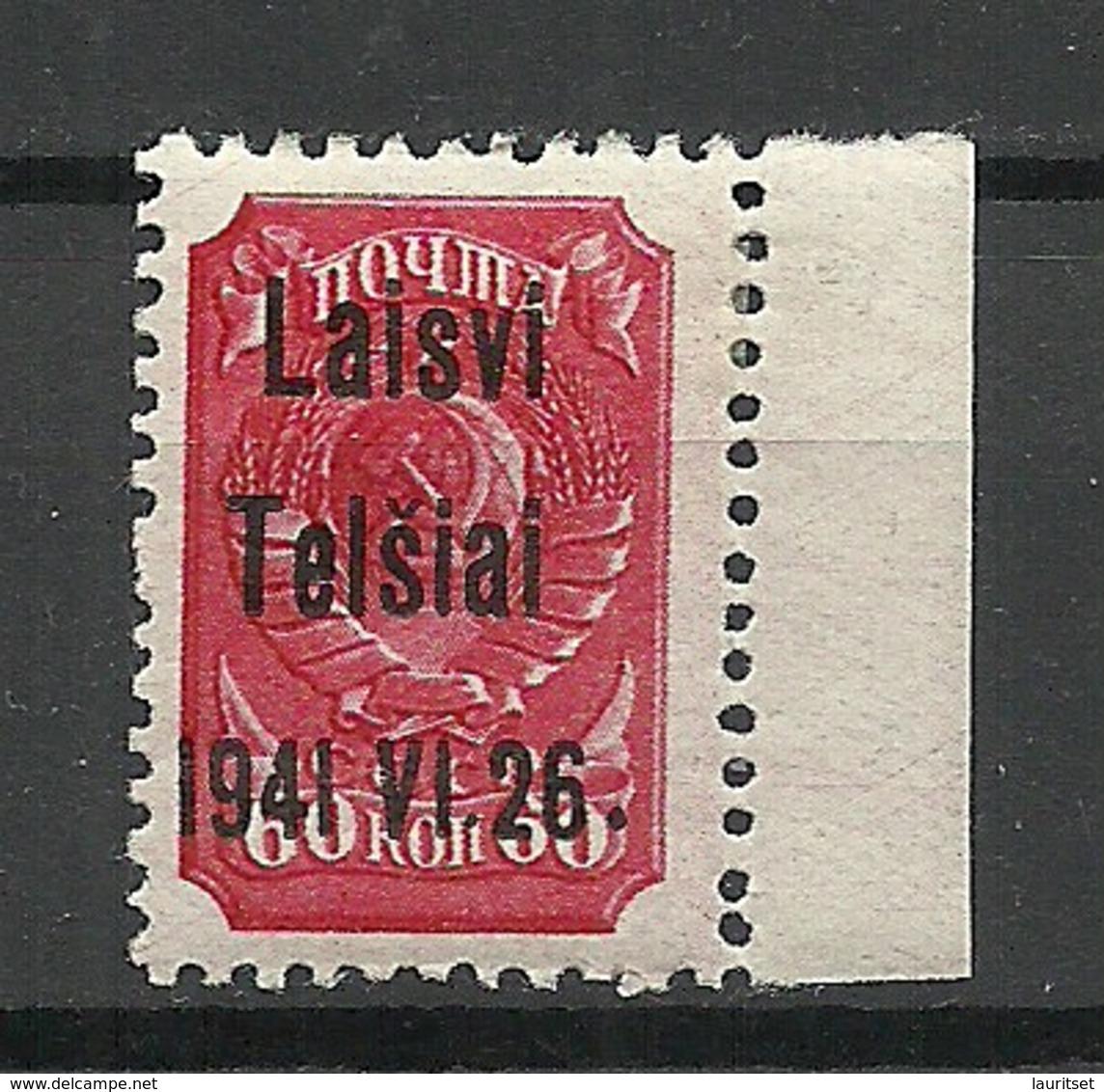 LITAUEN Lithuania 1941 German Occupation Telšiai Michel 7 * - Occupation 1938-45