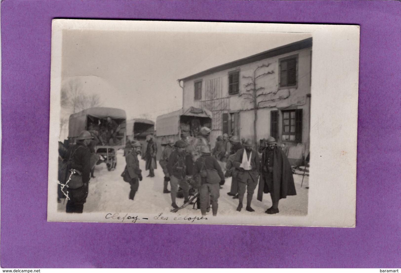 88 CLEFCY  BAN SUR MEURTHE  GUERRE 1914 1918 Les éclopés Devant La Mairie Carte Photo - Autres Communes