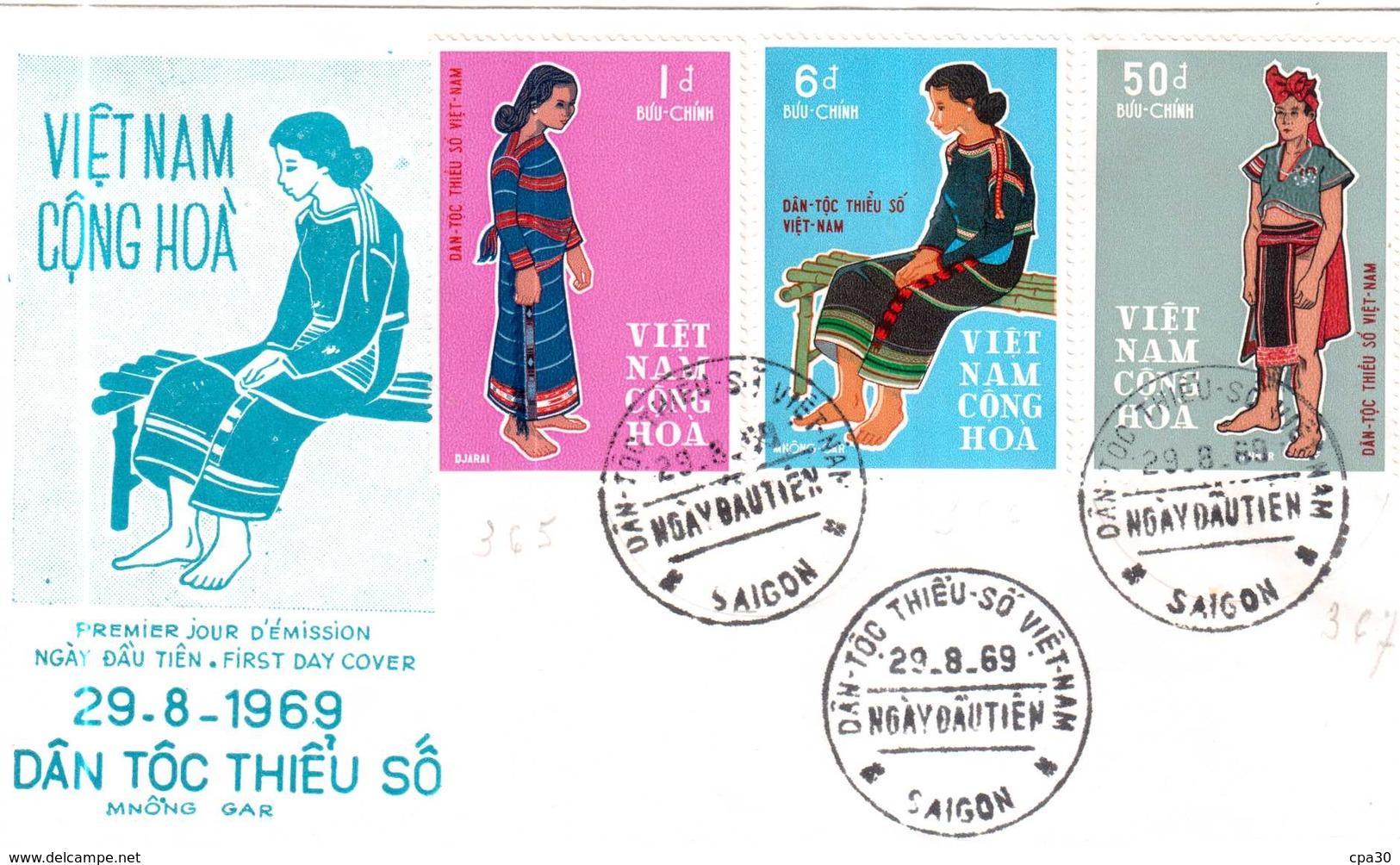 ENVELOPPE PREMIER JOUR D'EMISSION VIET-NAM.29-8-1969 - Viêt-Nam