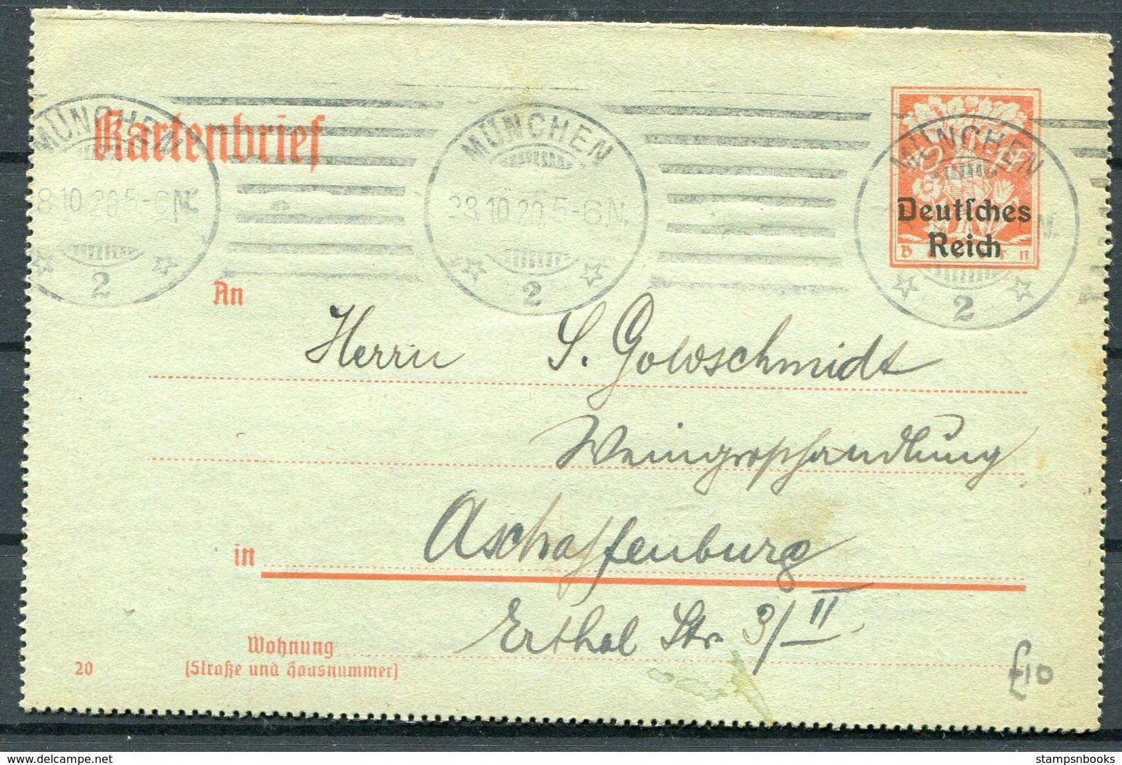 1920 Deutsches Reich / Bayern Overprint Kartenbrief Lettercard Stationery. Goldschmidt Muchen Judaica - Allemagne
