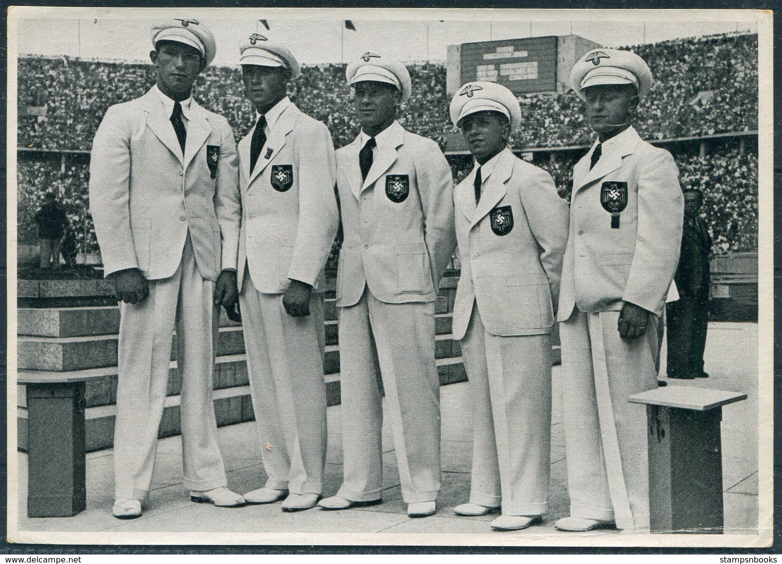 1936 Germany Berlin Olympics Olympia Sammelwerk 14 Bild 129 Gruppe 58 Boxing German Team. Runge Murach Vogt Miner Kaiser - Trading Cards