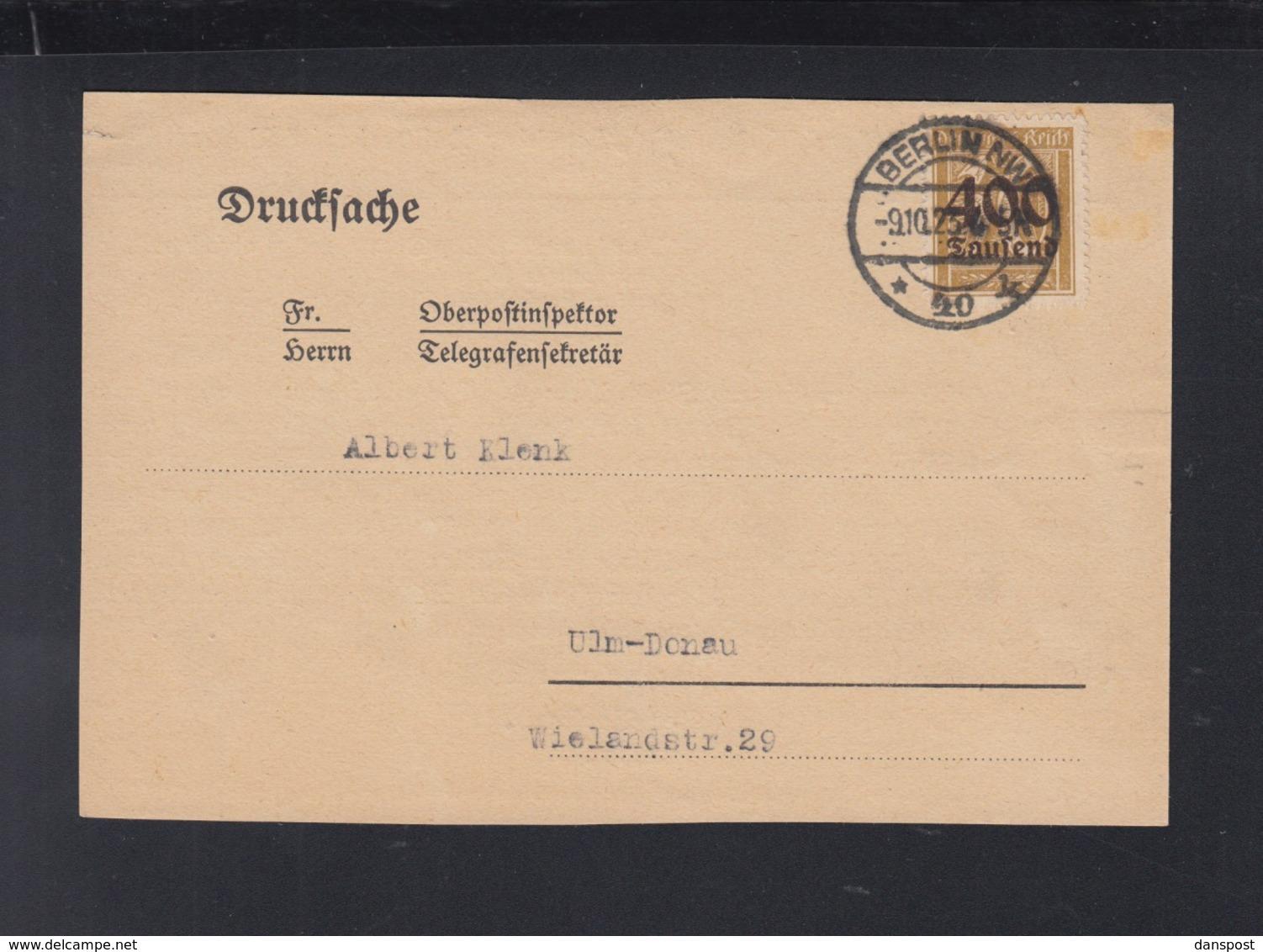 Dt. Reich Drucksache 1923 Berlin Nach Ulm - Briefe U. Dokumente