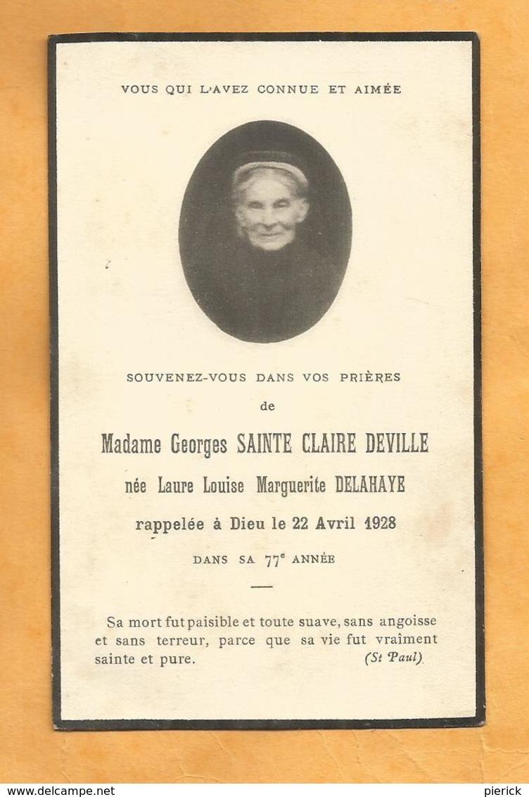 IMAGE GENEALOGIE FAIRE PART AVIS DECES MADAME GEORGES SAINTE CLAIRE DEVILLE LAURE LOUISE DELAHAYE 1852 1928 - Décès