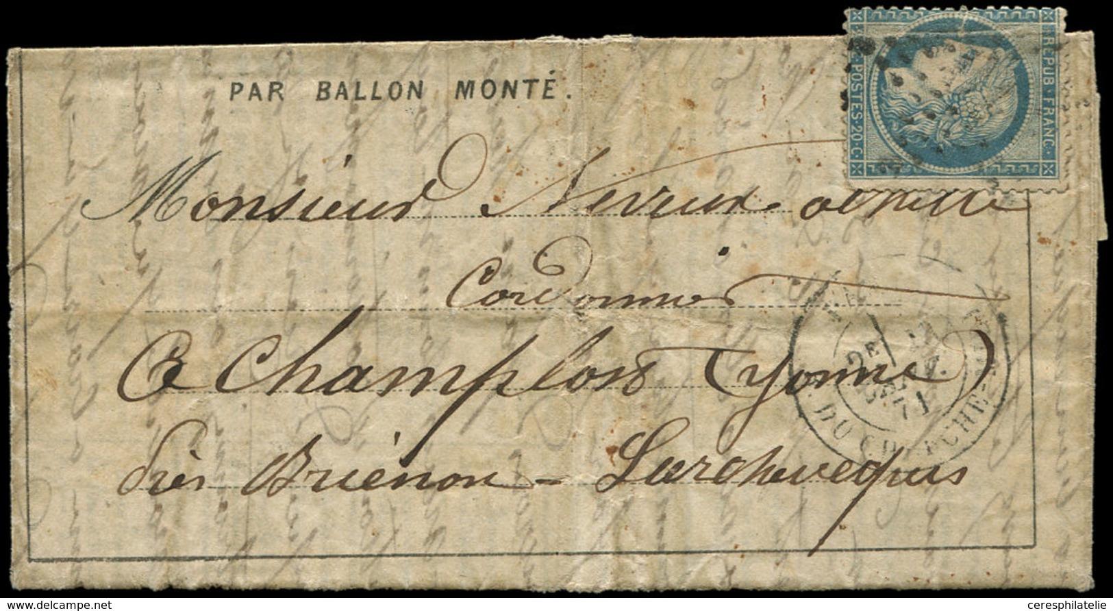 Let BALLONS MONTES - N°37 Déf. Obl. Etoile 10 S. DEPECHE-BALLON N°24, Càd R. Du Cherche Midi 23/1/71 Pour CHAMPLON, B/TB - Storia Postale