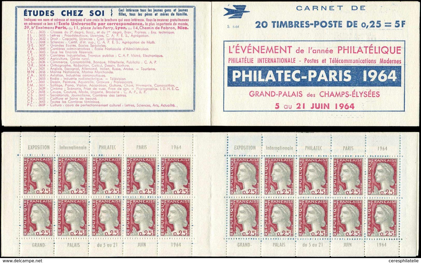 CARNETS (N°Cérès Jusqu'en1964) - 372  Marianne De Decaris, 0,25 Gris Et Grenat, N°1263, T I, S. 6-64, PHILATEC-PARIS 196 - Definitives