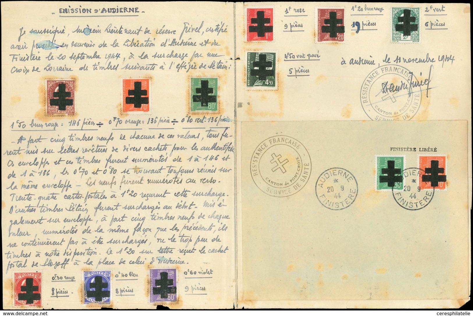 (*) TIMBRES DE LIBERATION - AUDIERNE 2/3, 5, 6 (2), 10/12, 14 Et 21 Collés Sur Lettre Document Du 11/11/44 Avec Cachet D - Libération