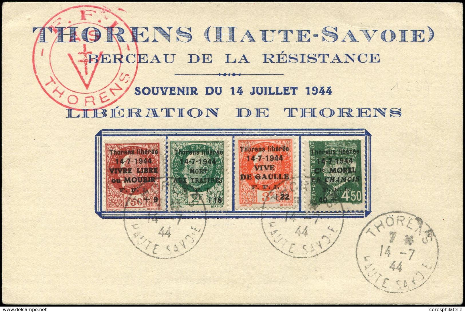 Let TIMBRES DE LIBERATION - THORENS 1/4 Obl. 14/7/44 Sur Carte Souvenir, TB - Libération