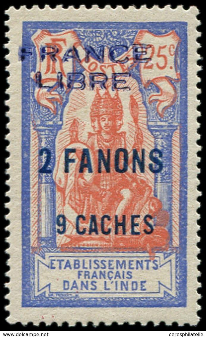 * INDE 131 : 2fa.9ca. Sur 25c., FRANCE LIBRE, Infime Ch., TTB. Br - Inde (1892-1954)