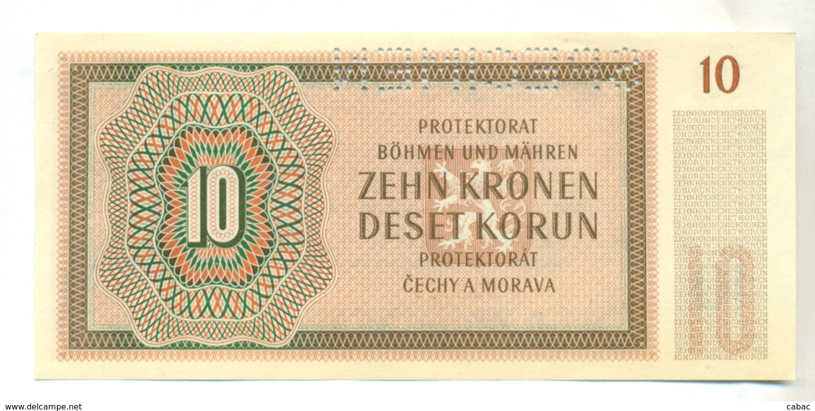 Čechya Morava, Deset Korun, 10 Korun, Zehn Kronen, PROTEKTORAT, 1942, SPECIMEN, S. 21N, Bohemia Moravia - Tchécoslovaquie
