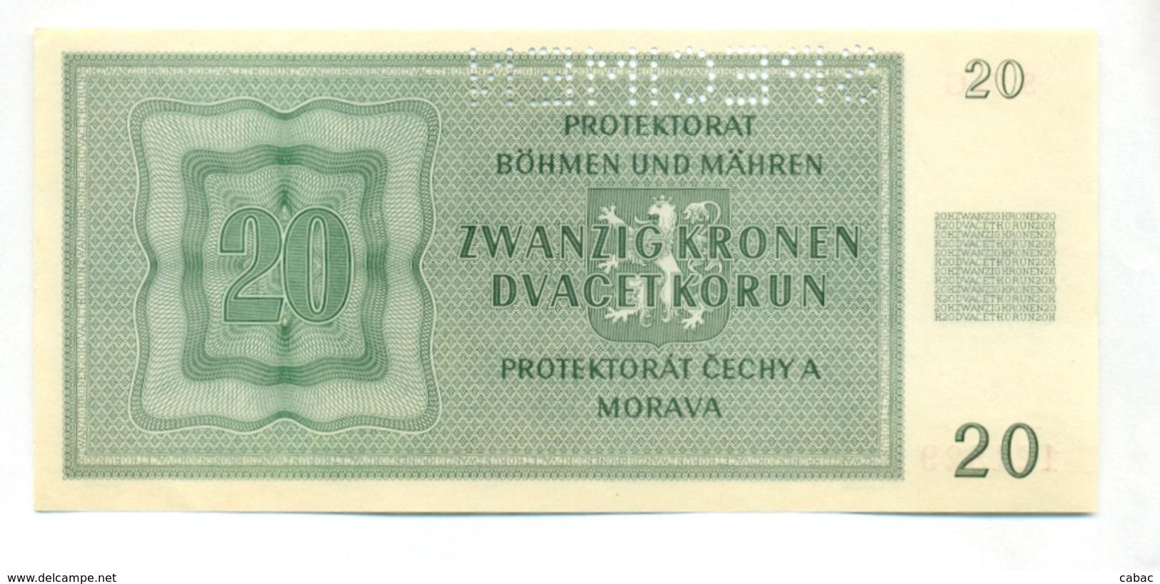 Čechya Morava, Dvacet Korun, 20 Korun, Zwanzig Kronen, PROTEKTORAT, 1944, SPECIMEN, S. 34G, Bohemia Moravia - Tchécoslovaquie
