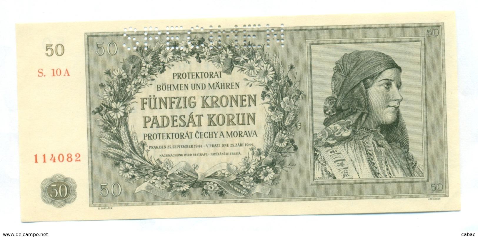 Čechya Morava, Padesat Korun, 50 Korun, Funfzig Kronen, PROTEKTORAT, 1944, SPECIMEN, S. 10A, Bohemia Moravia - Tchécoslovaquie