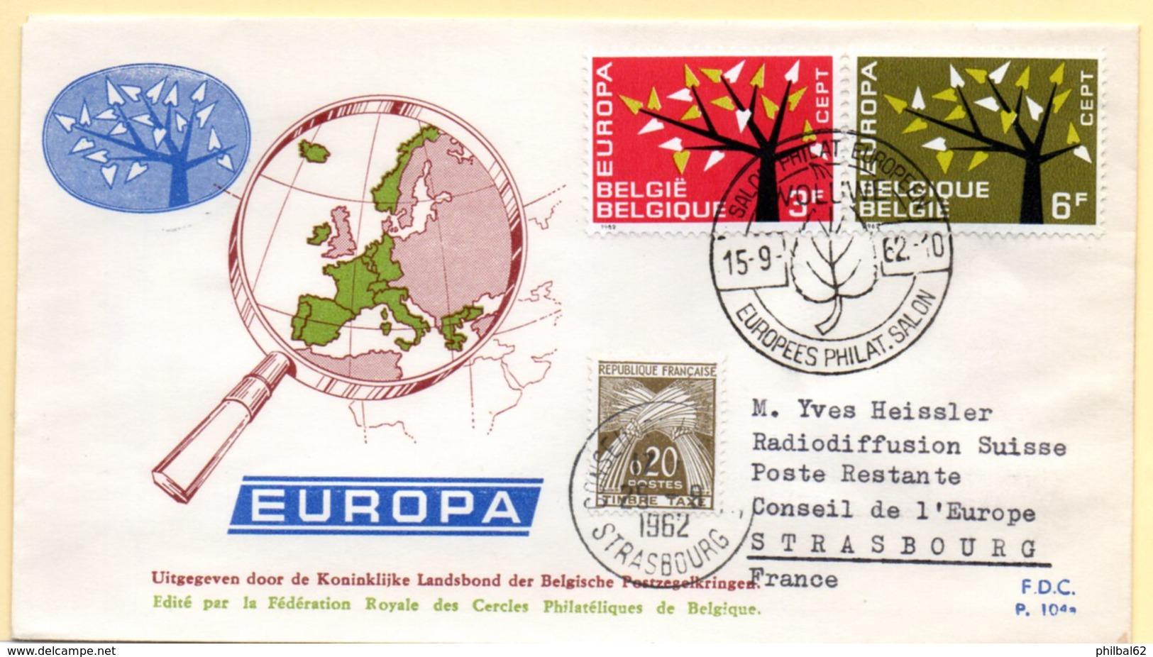 Europa 1962, FdC. Belgique. Oblitération 15/09/1962 + Cachet à Date Conseil De L'Europe 25/09/62 - Europa-CEPT
